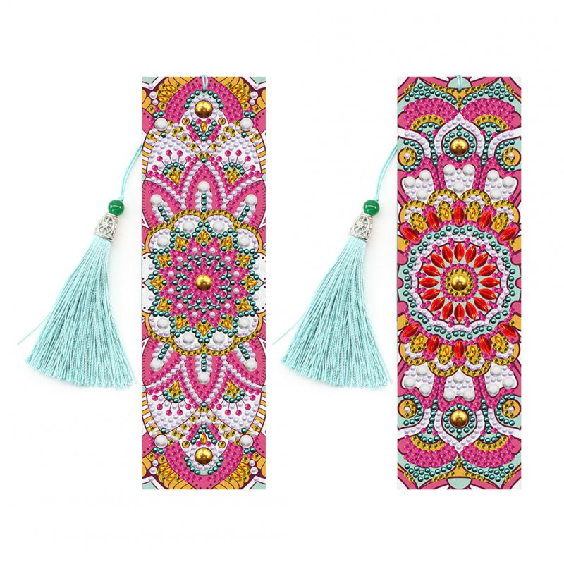 2Pcs Leather Bookmark Tassel Book Marks Special Shaped 5D DIY Diamond Painting Embroidery DIY Craft