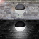 2Pcs Outdoor Waterproof Solar Powered Sensor Fence Lamps Wall Lights White light_(ME0011600)
