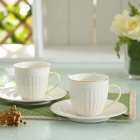 2Pcs/Set Coffee Cup + Saucer Ceramic Embossed Solid Color Gold Edge Drinkware