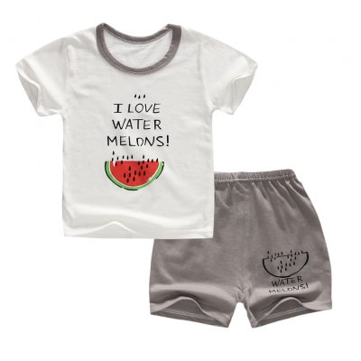 2Pcs/Set Kids Cartoon Pattern Short Sleeve Shirt Shorts Pyjama for Home Wear English watermelon_100cm
