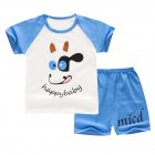 2Pcs Set Kids Cartoon Pattern Short Sleeve Shirt Shorts Pyjama for Home Wear Blue puppy 100cm
