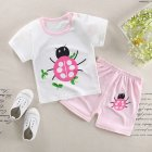 2Pcs/Set Kids Cartoon Pattern Short Sleeve Shirt Shorts Pyjama for Home Wear Chafer_110cm