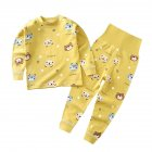 2Pcs Set Kids Home Wear Cotton Long Sleeve Tops High Waist Pants for Baby Girls Boys Yellow 73