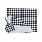 2Pcs/Set Newborn Plaid Printing Swaddle Blanket with Beanie Set Soft Stretchy Towel for Baby Boys Girls Black plaid_80*100cm