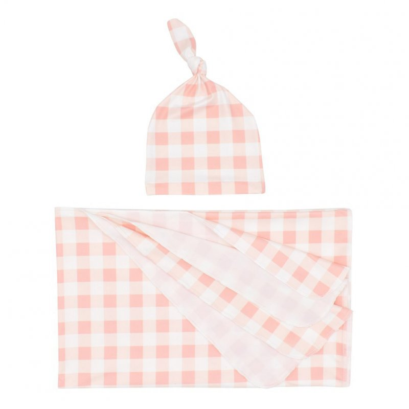2Pcs/Set Newborn Plaid Printing Swaddle Blanket with Beanie Set Soft Stretchy Towel for Baby Boys Girls Meat meal plaid_80*100cm