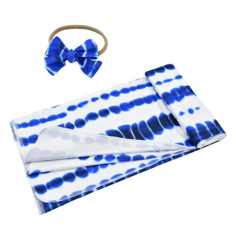 2Pcs/Set Tie Dye Printing Swaddle Towel + Bowknot Hair Band for Infant Baby Blue tie dye_80*100cm