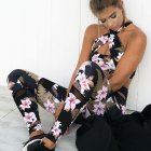 2Pcs Set Women Yoga Floral Print Bra Long Pants Sportsuit for Women Fitness Sport Suit 2pcs set L