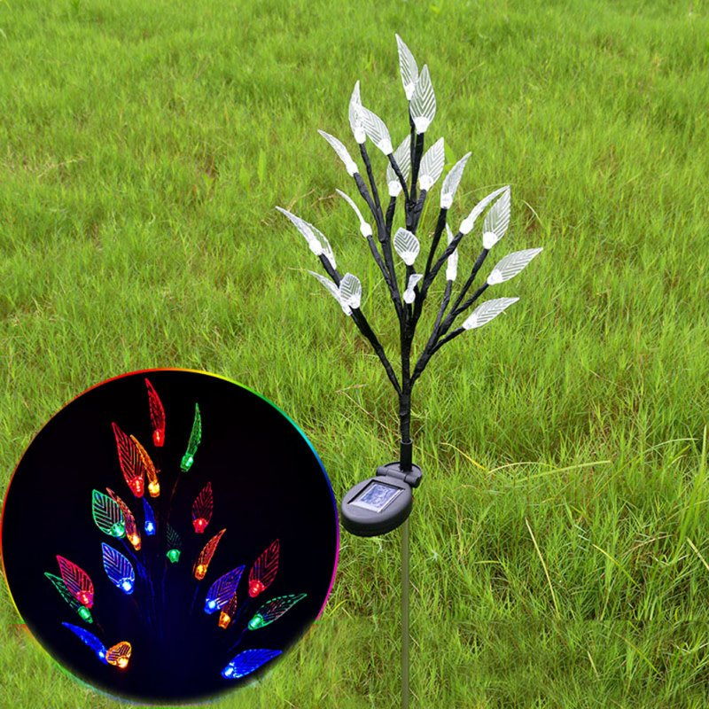 2Pcs Solar Powered Branch Leaves Light Lawn Lamp for Outdoor Garden Landscape colors