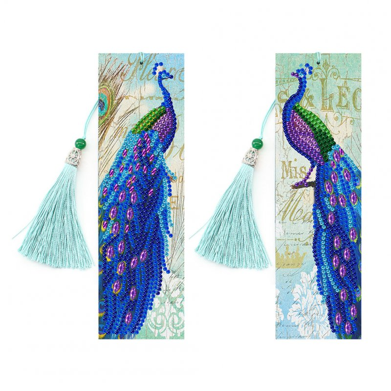 2Pcs Tassel 5D DIY Diamond Painting Leather Book Marks Special Shaped Diamond Embroidery Bookmark
