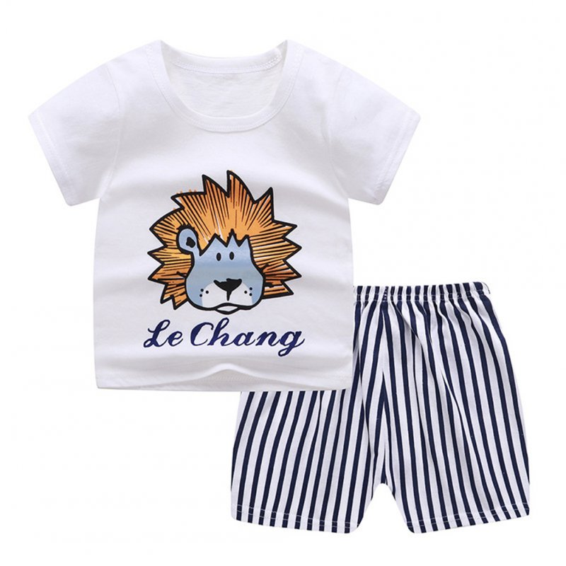 2Pcs Unisex Baby Short Sleeved Tops+Shorts Cartoon Pattern Clothes Children Home Wear C_100