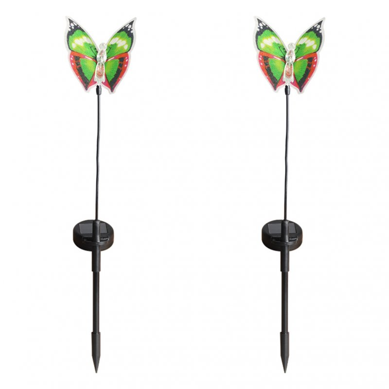 2Pcs Waterproof Solar Fiber Optic Butterflies Shape Lights Outdoor Garden Lawn  Decor green