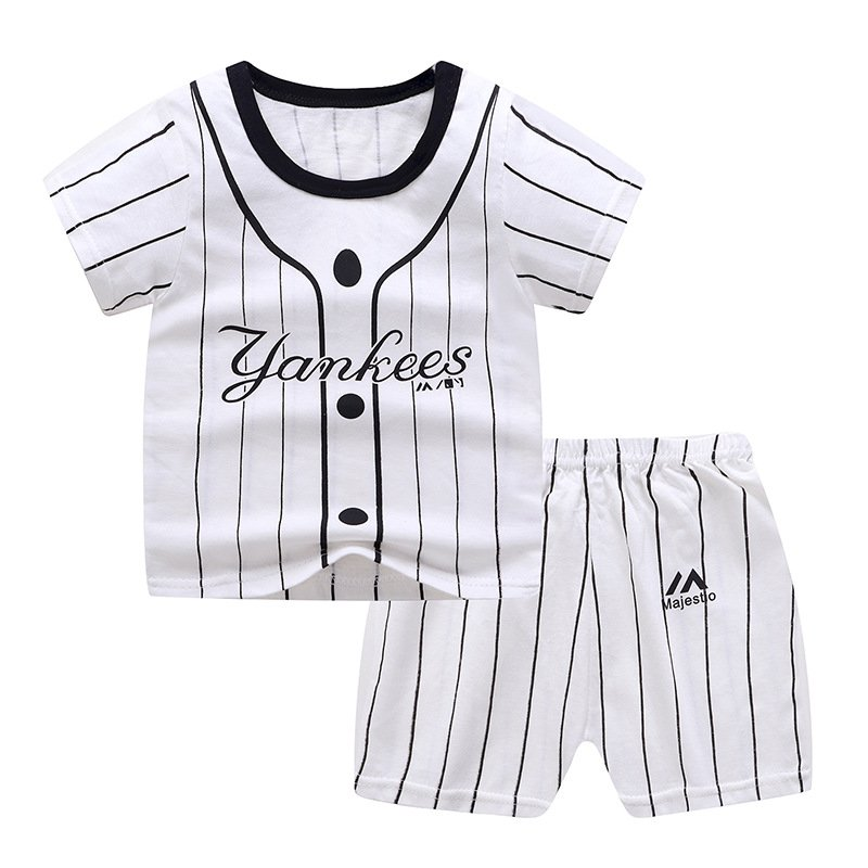 2Pcs/set Baby Suit Cotton T-shirt + Shorts Cartoon Short Sleeve for 6 Months-4 Years Kids Striped buckle_90 (60 yards)