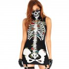 2Pcs/set Halloween Sexy Bodycon Dress + Mask Skeleton Sleeveless Cosplay Party Costume black_S