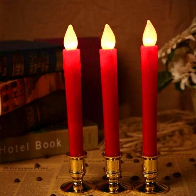 2Pcs/set LED Simulation Candle Christmas Electronic Light Candlestick Wedding Party Decoration  red candle light