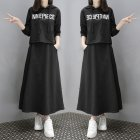 2Pcs set Lady Autumn Long Sleeve Hoodie Sweatshirt Printing Letters   Solid Color Long Skirt Black suit 2XL
