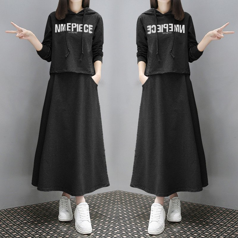 2Pcs/set Lady Autumn Long Sleeve Hoodie Sweatshirt Printing Letters + Solid Color Long Skirt Black suit_2XL