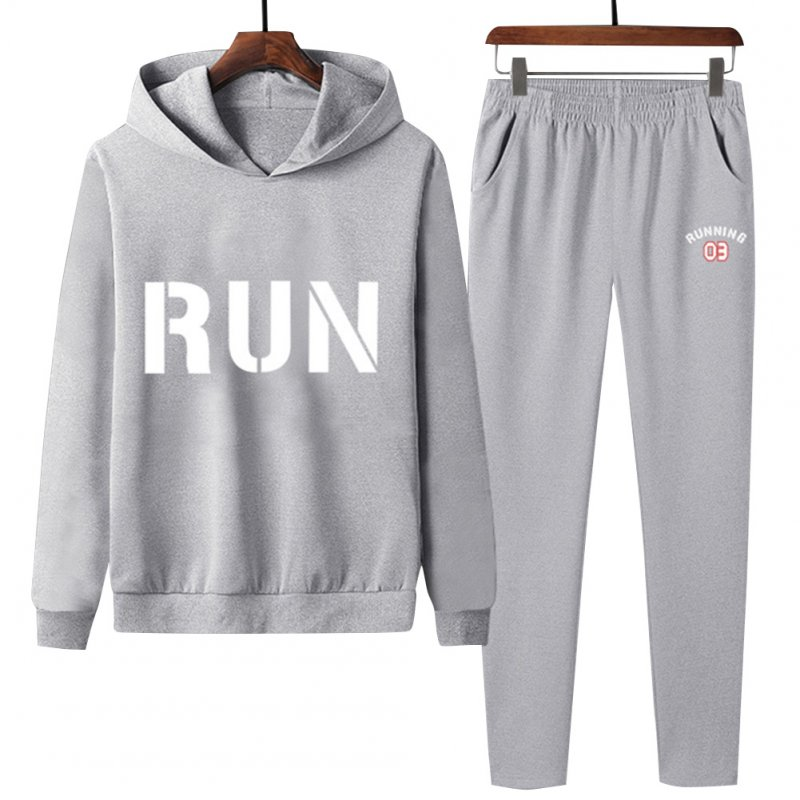 2Pcs/set Men Hoodie Sweatshirt Sports Pants Printing RUN Casual Sportswear Student Tracksuit Gray_XXL