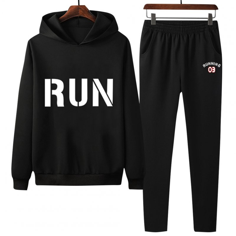 2Pcs/set Men Hoodie Sweatshirt Sports Pants Printing RUN Casual Sportswear Student Tracksuit Black_XXL