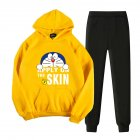 2Pcs set Men Women Casual Suit Hoodie Sweatshirt   Pants Cartoon Doraemon Thicken Tracksuit Yellow XXL