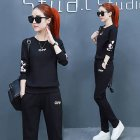 2Pcs/set Women Sportswear Suit Sweatshirt + Pants Print Flower Plus Size Loose Casual Tracksuit A78-black_4XL