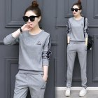 2Pcs set Women Sportswear Suit Sweatshirt   Pants Print Flower Plus Size Loose Casual Tracksuit 103 grey 4XL