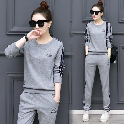 2Pcs/set Women Sportswear Suit Sweatshirt + Pants Print Flower Plus Size Loose Casual Tracksuit 103-grey_4XL