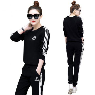 2Pcs/set Women Sportswear Suit Sweatshirt + Pants Print Flower Plus Size Loose Casual Tracksuit 103-black_M