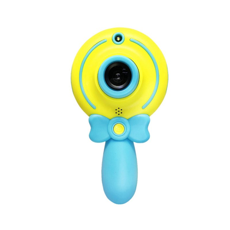 2inch Cartoon Lollipop Digital Camera Mini HD Dual Lens Children Cute Camcorder Kid Gift blue