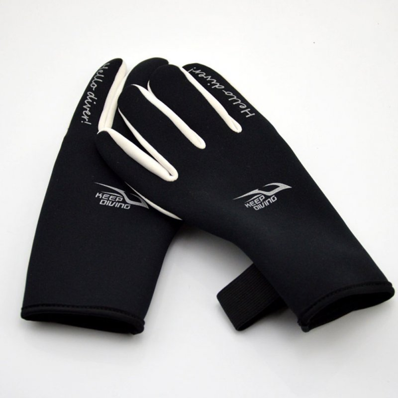 2mm Diving Gloves Adult Printing Swimming Snorkeling Gloves Warm Non-Slip Underwater Swim Equipment black_L