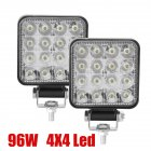 2pcs 10-30v 6000k 96w LED Bar Worklight 3inch Offroad Work Light Interior Led 4x4 Led Tractor Headlight Spotlight For Truck