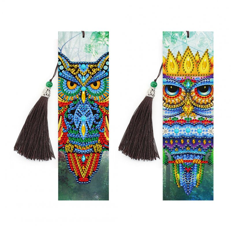 2pcs 5D DIY Diamond Painting Leather Bookmark with Tassel Special Shaped Resin Embroidery Craft SQ07
