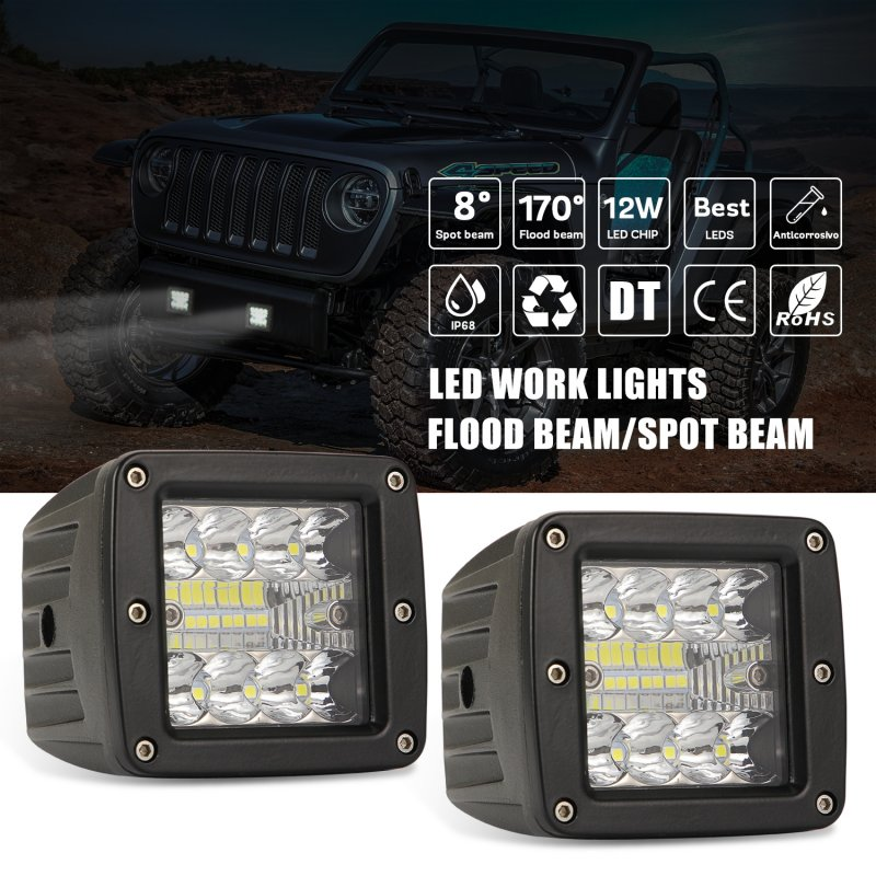 2pcs Aluminum Flush Mount Led Pods 48W Spot Flood Combo Off Road Led Recessed Driving Pods For Ute Bumper Reverse Lamps;