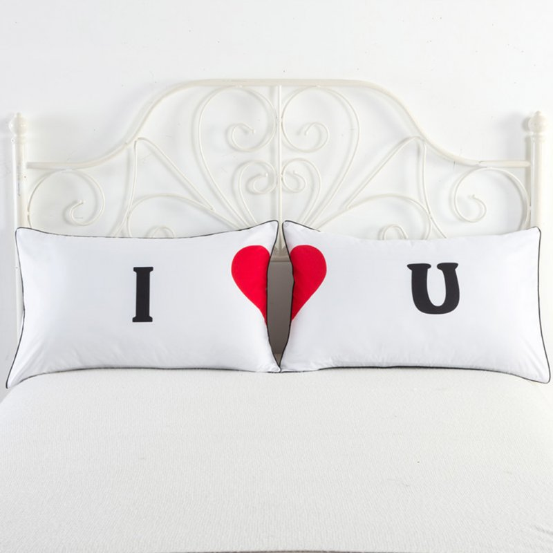 2pcs Couple Pillow Case Couple Wedding Bed Home Living Room Decorative Pillow Covers  I heart U