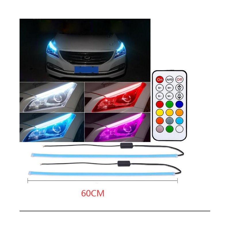 2pcs Daytime Running Light Switch With Wireless Remote Control Tube Guide Car Led Strip Turn Signal Light Bar Colorful_60CM