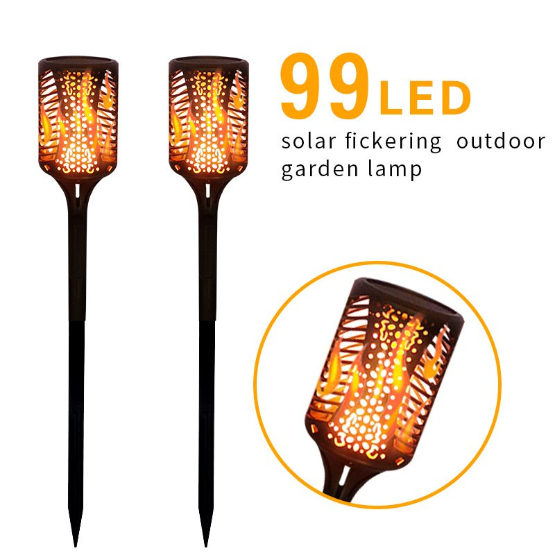 2pcs Flame Lamp 99 LED Light Wine Bottle Shape Solar Power IP65 Waterproof Yard Lawn Decor Lighting  Full Set