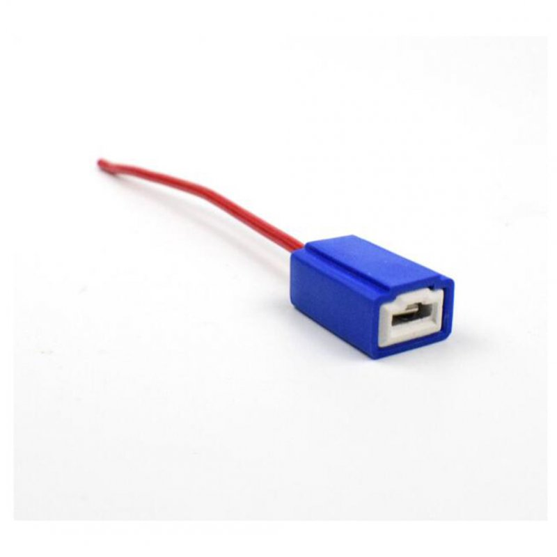 2pcs H1 H3 Ceramics Base Bulb Socket Lamp Holder Auto Parts Male To Bus Connector Copper Core Wire Red blue_H1 / H3 plug