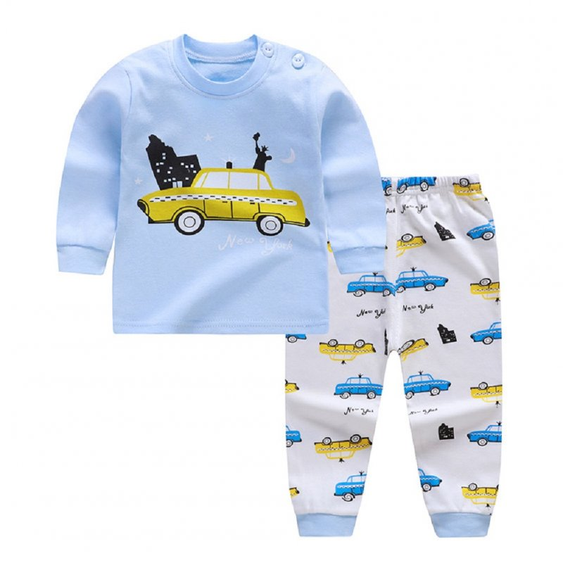 2pcs Kids Girl Boy Long Sleeve Round Collar Tops+Long Trousers Home Wearing Clothes Suits Autumn set goddess car_73/50  #