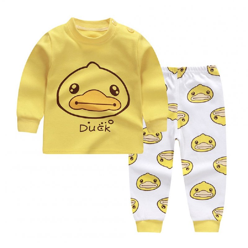 2pcs Kids Girl Boy Long Sleeve Round Collar Tops+Long Trousers Home Wearing Clothes Suits Autumn set of yellow ducklings_80/55  #