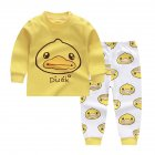2pcs Kids Girl Boy Long Sleeve Round Collar Tops+Long Trousers Home Wearing Clothes Suits Autumn set of yellow ducklings_90/60  #