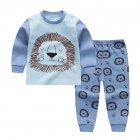 2pcs Kids Girl Boy Long Sleeve Round Collar Tops+Long Trousers Home Wearing Clothes Suits Autumn blue lion_100/65 #