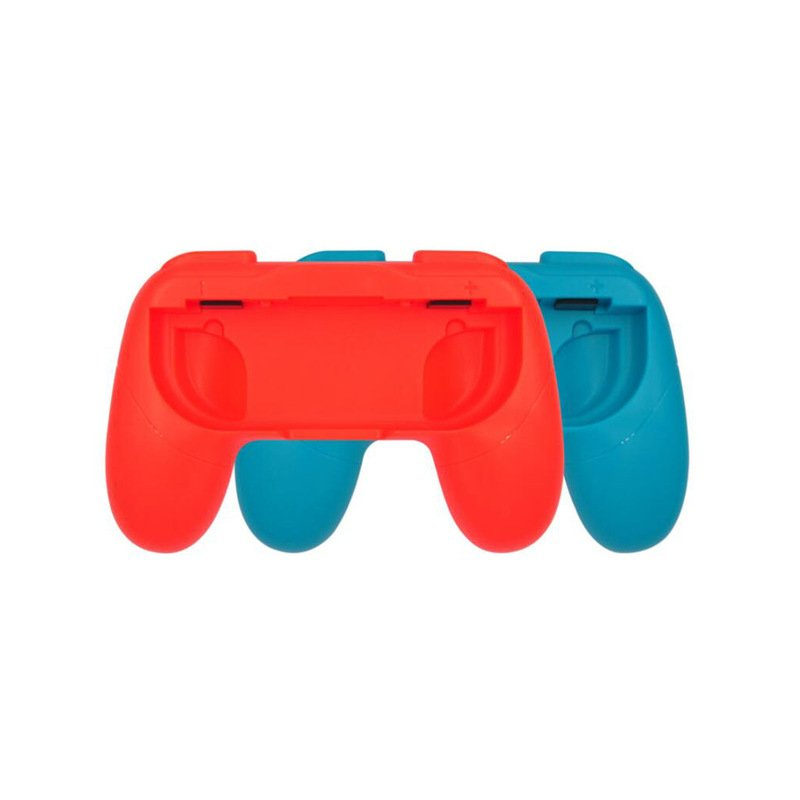 2pcs Plastic Anti-skid Handle Handgrip Brackets Protective Shell for Switch Joycon Controllers Red + blue