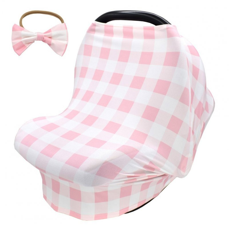 2pcs Stretchy Baby Car Seat Cover + Baby bow headband Multiuse - Nursing Breastfeeding Covers Car Seat Canopies  Pink tartan design