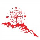 2pcs Vinyl Car Stickers and Decals Mountains Compass Navigation Graphic Sticker Vehicle hood Car Body Sticker red