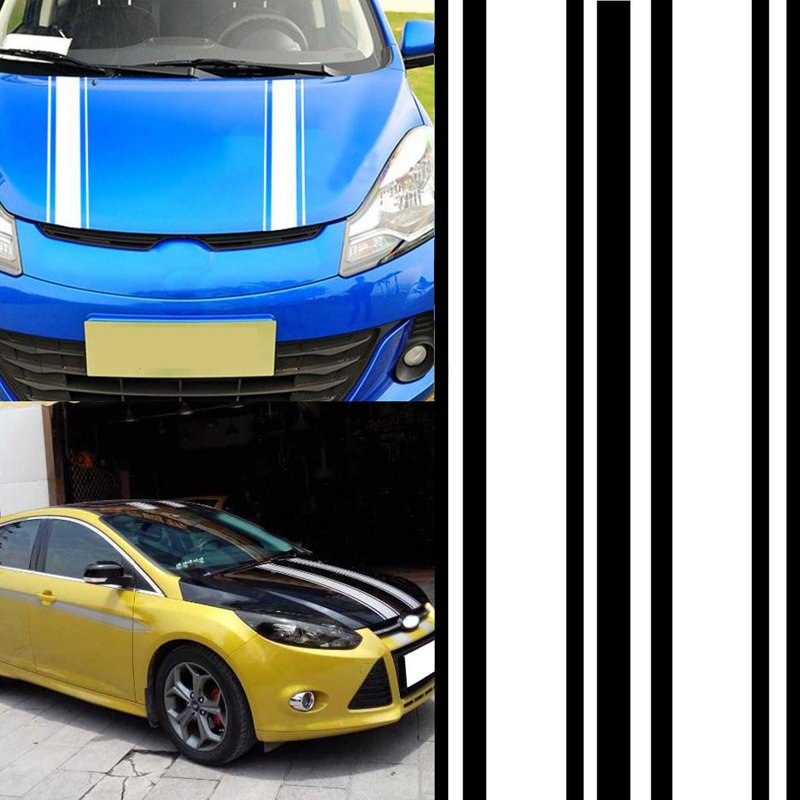 2pcs/set 72 inch x3 inch DIY Black Car Body Vinyl Racing Stripe Pinstripe Decal Stickers white