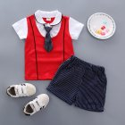 2pcs set Boy Sports Suit Baby Gentleman Tie Pattern Short Sleeve T shirt   Short Suit red 100cm