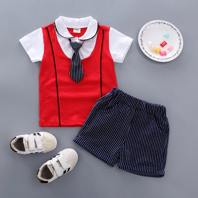 2pcs/set Boy Sports Suit Baby Gentleman Tie Pattern Short Sleeve T-shirt + Short Suit red_100cm