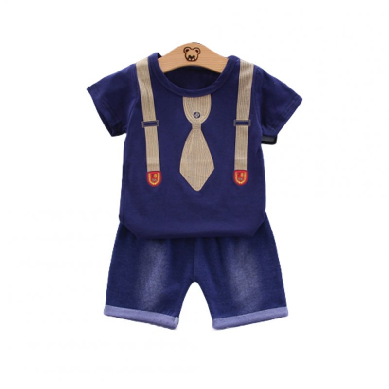 2pcs/set Boys Short-sleeve Suit Cotton Necktie Printed for 0-4 Years Old Baby Navy blue_110cm