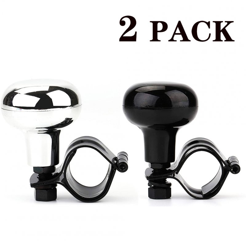 2pcs/set Car Steering Wheel Suicide Spinner Power Knob with Clamp  for All Vehicles 1 silver 1 black