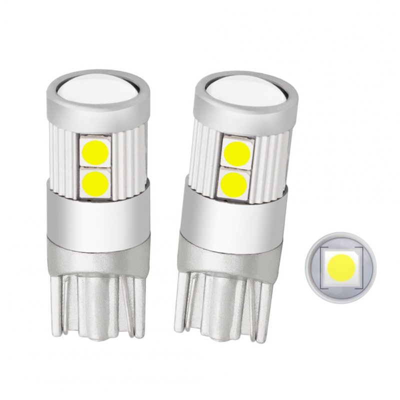 2pcs/set Car Super Bright LED Bulbs T10 9smd Lens Brake Light Turn Signal Indoor Reading Light White light