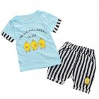 2pcs/set Children Baby Boys Girls Cute Cartoon Short Sleeve Tops + Shorts Soft Cotton Suit